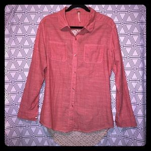 🎁 Free People Button down linen shirt w lace back